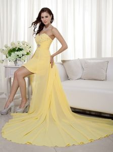 Rhode Yellow Sheath Sweetheart High-low Beading Graduation Dresses