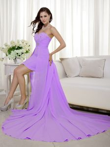 Lavender Sheath and High-low Beading Graduation Ceremony Dresses