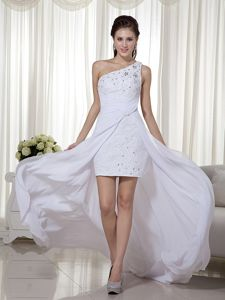 White One Shoulder High-low Beading Graduation Ceremony Dresses