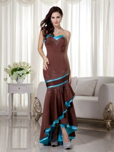 Brown and Blue Asymmetrical Beading Mermaid Grad Dress in Oregon