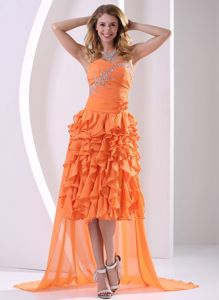 Orange Ruffled Layers and Detachable High-low Prom Dress for Grad