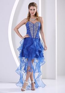 Sweetheart Beaded University Grad Dresses with Ruffles in Royal Blue
