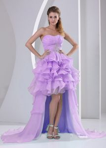 Lavender Brush Train Grad Dresses with Beading Ruche and Ruffles