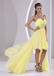 High-low Beaded Bright Yellow Detachable Senior Graduation Dresses