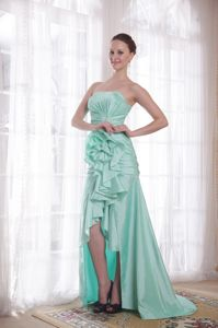 Apple Green Princess and High-low for Handle Flower Grad Dresses
