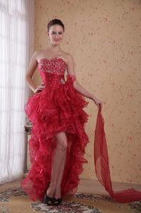Red Sweetheart High-low Beaded Grad Dress with Layered Ruffles