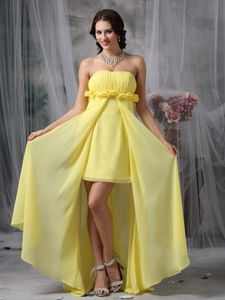 Yellow Column Graduation Dress Designed High-low in Pennsylvania