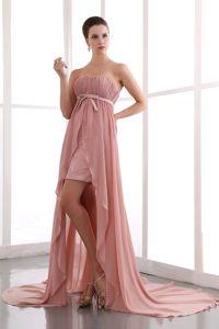 Empire High-Low Court Train Pink Dresses with Belt for Graduation