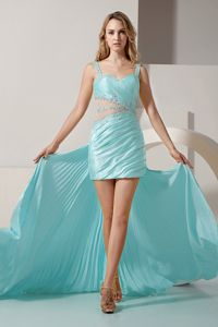 Light Blue Straps Waist Cut-Out Hi-Lo Graduation Dress for 2013