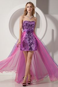 Purple Beaded Graduation Dress for Grade 8 with Longer Back 2014