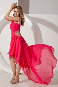 New One-Shoulder High-Low Cut-out Waist Red Dress for Graduation