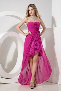 Fuchsia High-low Sweetheart Lace Hand Made Flower Graduation Gown