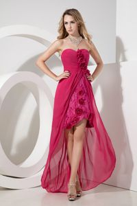 Sweetheart Hot Pink Flowers High-low Graduation Dress in Falkirk