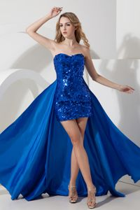 Detachable Sequin Royal Blue Mini-length College Graduation Dress