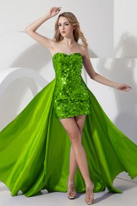 Mini-length Detachable Green Sequined Graduation Gown for Juniors