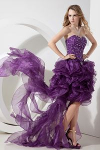 Beaded Purple Organza High-low Sheath Graduation Gown in Stirling
