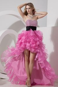 Rose Pink High-low A-line Beaded Graduation Dress with Sweetheart