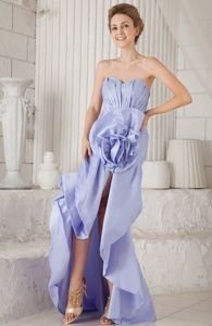 Sweetheart Lilac Mermaid Taffeta Asymmetrical Hem Graduation Gown