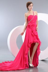 Hot Pink One Shoulder Beaded High-low Junior Graduation Dresses