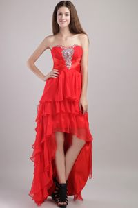 Sweetheart Red Organza Beaded High-low Graduation Dress in Killin