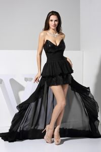 V-neck Chiffon Sequined High Low Cute Graduation Dress with Sash