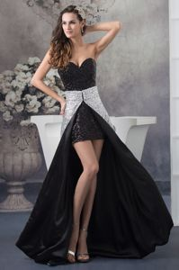 Watteau Train Sequined Black and Sliver Graduation Dress in Fowey