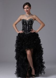 Beaded Black Sweetheart High-low Ruffles Prom Gown for Graduation