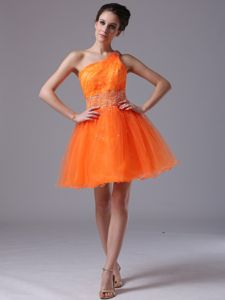 Orange Beaded Organza One Shoulder Graduation Dress in Columbus
