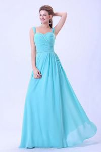 Chiffon Ruched Aqua Blue Friant Graduation Dress with Straps