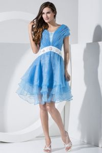 Embroidery V-neck Ruched Baby Blue Short Sleeves Graduation Dress