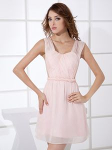 Light Pink Ruched Belt Anaheim New Graduation Dress with Straps