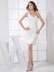 One Shoulder White Chiffon Ruched Burbank Graduation Dresses