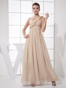 Hand Made Flowers One Shoulder Champagne Grad Dress in Bakersfield