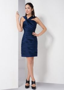 Ruched V-neck Navy Blue Cheap Graduation Dresses in Glendale