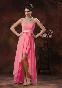 High-low Sweetheart Belt Layers Watermelon College Graduation Gowns
