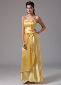 Layers Straps Bowknot Yellow Ankle-length 5th Grade Graduation Dress
