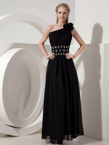 Ankle-length Black One Shoulder Chiffon College Graduation Dresses