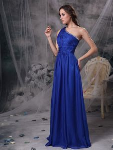 Royal Blue One Shoulder Ruches Graduation Dress in Montreal Quebec