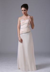 Beading Sweetheart Ruche Champagne Graduation Dresses for Grade 8
