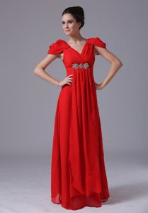 Short Sleeves V-neck Red Belleville Ontario Graduation Dress for Junior