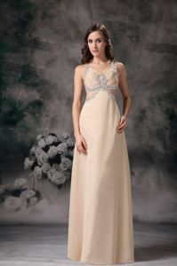 Waist Cut Straps Beading Champagne Graduation Dress for 8th Grade