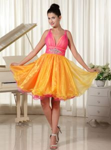Multi-color Straps Beading Organza North Bay Ontario Graduation Dress
