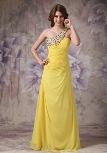 One Shoulder Beading Ruched Yellow Evening Dresses for Graduation