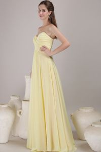 Milton Ontario Sweetheart Yellow Chiffon Evening Dress for Graduation