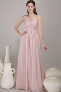 Beading Ruches One Shoulder Baby Pink Prom Dresses for Graduation