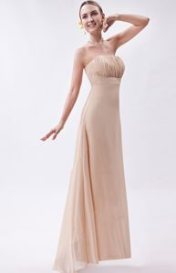 High-low Strapless Ruched Champagne Chiffon Graduation Party Dress