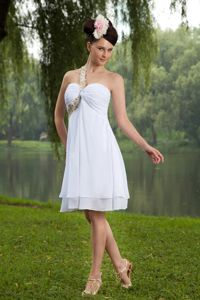 2013 One Shoulder Ruched Layers White Graduation Dresses for Junior