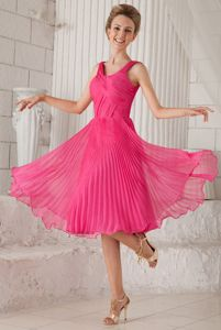 Barrie Ontario Straps Pleated Hot Pink Evening Dresses for Graduation