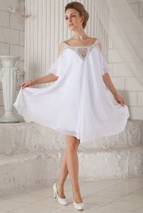 Off Shoulder Beading Half Sleeves White Prom Dresses for Graduation