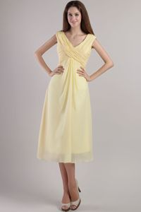 Chiffon Light Yellow V-neck Graduation Dresses in Burlington Ontario